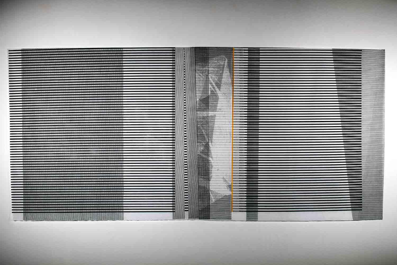Scope of Shadows II - Egg of Columbus   (item 2)  2016 | 97 x 211 cm | Linocut on interfacing paper