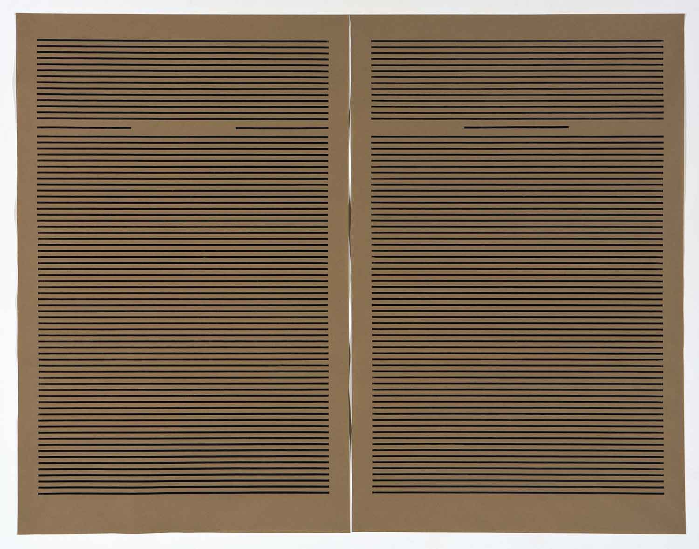 Broderie sur lignes de codes III - L'identité    (point de bâti)   2014 | 168 cm x 127 cm | Wooden-spoon technique on Kraft paper and collage