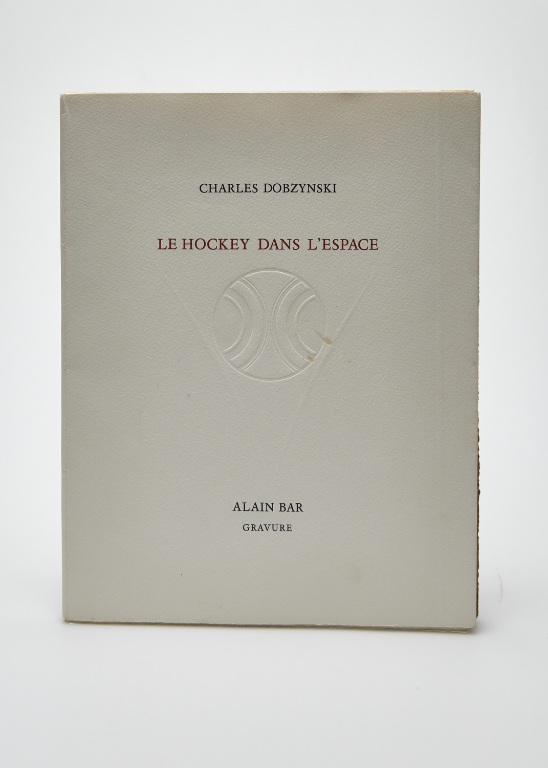 Le Hockey Dans l'Espace    Text by Charles Dobzynski and engraving by Alain Bar  1982 | 25 x 32 cm | engraving and typography | 25 prints | editor Le Verbe et l'Empreinte