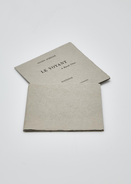 Le voyant    Text by Lucien Scheler and engraving by Julius Baltazar  1985 | 14 x14 cm | engraving and typography | 44 prints | editor Aux dépens d'un amateur and Jacques Matarasso