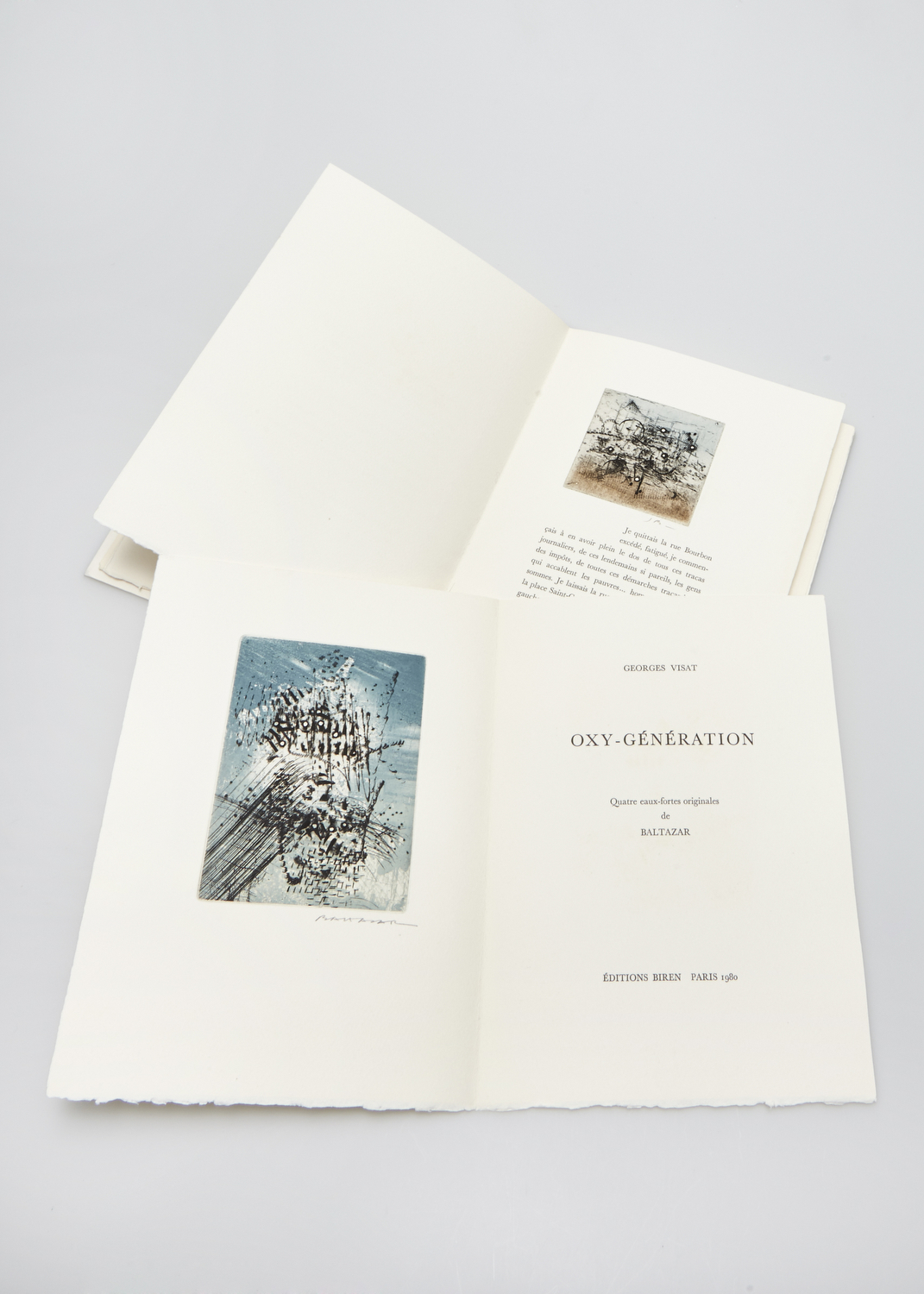 Oxy-Génération    Text by Georges Visat and engraving by Julius Baltazar  1980 | 27 x 19 cm | eau forte and typography | 60 prints | editor Biren