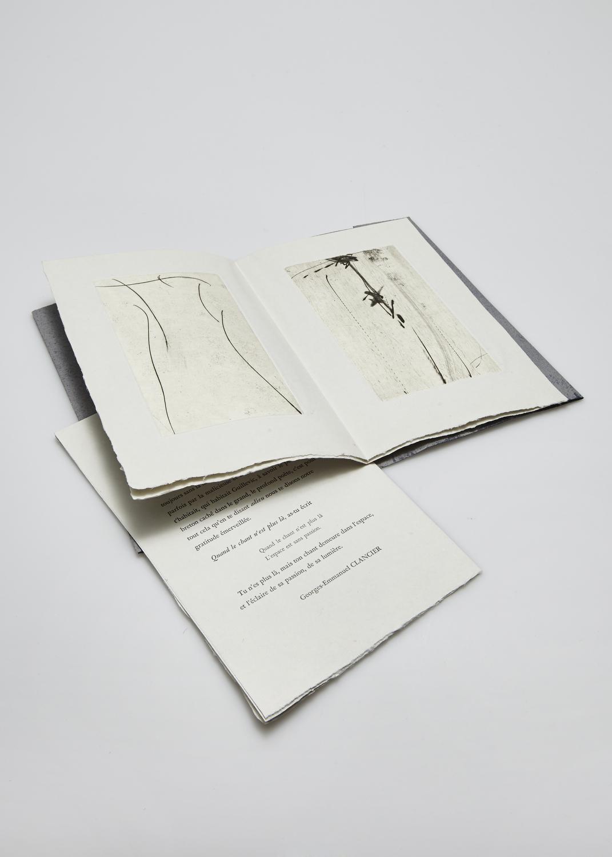 Est-ce un adieu ? on a tenu    Texte Georges-Emmanuel Clancier et gravure Julius Baltazar, Olivier Debré  1997 | 16 x 25 cm | eau forte et typographie | 65 exemplaires | édition A. Piroir