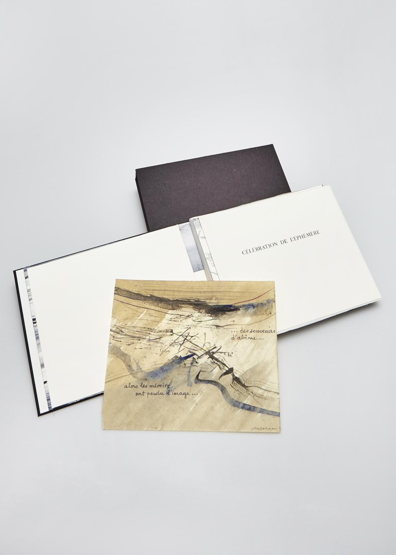Célébration de l'Éphémère    Texte Lionel Ray et gravure Julius Baltazar  2003 | 27 x 23 cm | lithographie et typographie | 45 exemplaires | éditeur Rémy Maure