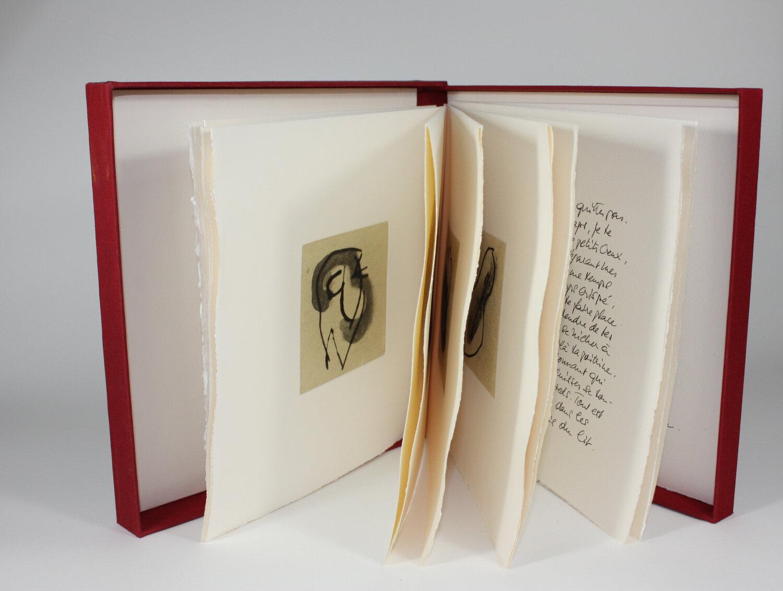 Planches et rouleaux érotiques    Texte Monique Moser-Verrey et gravure Francine Simonin  1997 | 27 x 27 cm | gravure et typographie | 78 exemplaires | édition L. Lacerte et A. Piroir