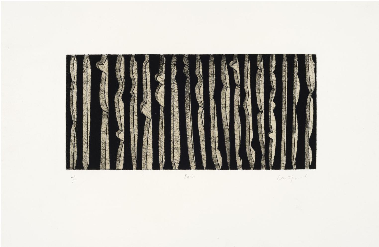 Sans titre, 2017, Eau forte et pointe sèche 17X37cm, site web de l'artiste Jean Michel Cropsal -
