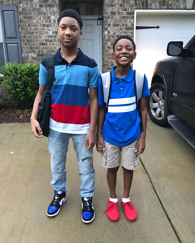 Somebody so happy about the first day of school😂 Praying for a safe and great academic school year! 7th and 5th grade ready
