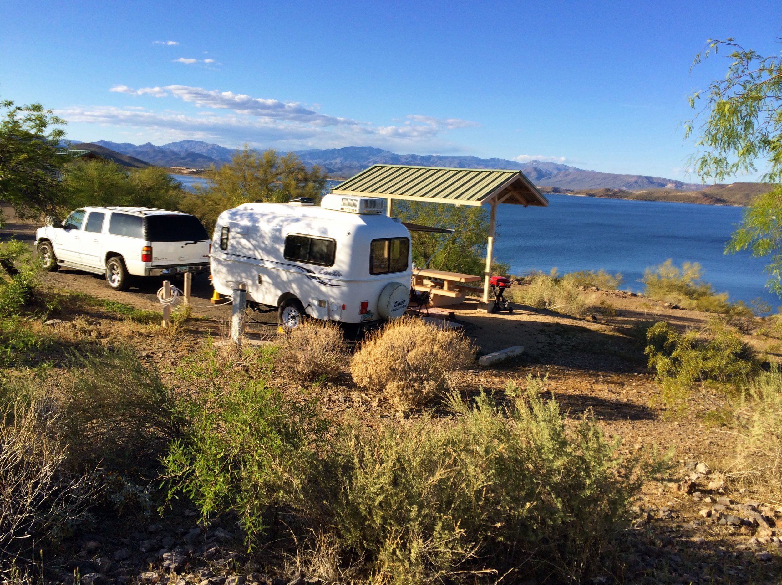 """July 2014, it was our first night in our cozy 17 foot casita. We were excited, happy and content. As we looked around at the all big rigs beside us, we thought our camper was a perfect size for our weekend camping trips! Big enough For Lon and I, the dog and a couple grandkids, or so we thought! Fast forward to 2019….our dream of traveling full-time, relaxing, hiking, living a simple life, exploring and adventures led us to our 40 foot Tiffin. We will be leaving in a week to travel full-time, because…..""""if you never go, you will never know""""."""