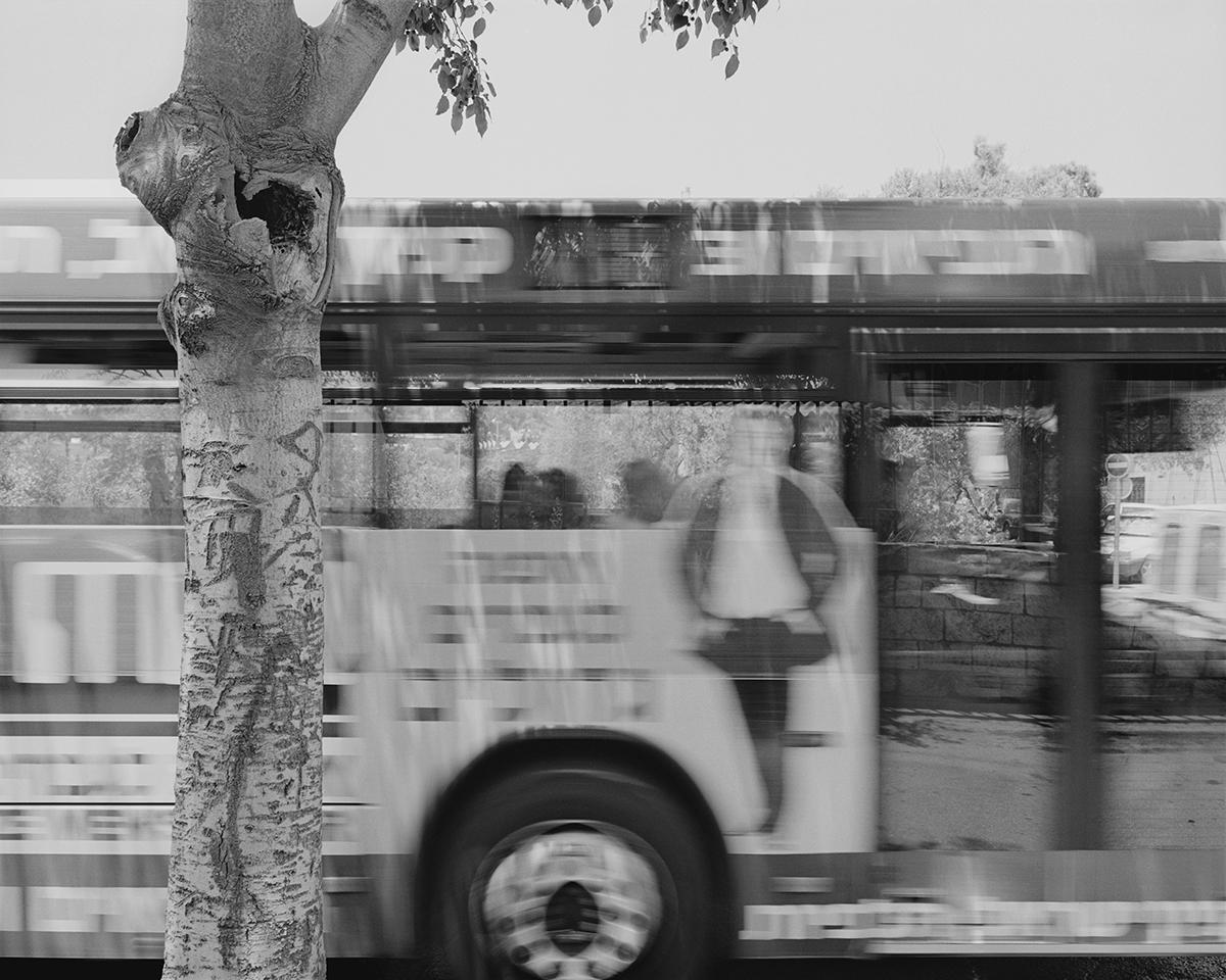December 24, 2004, Liberty Bell Park bus stop, Jerusalem. Photographed: July 2004