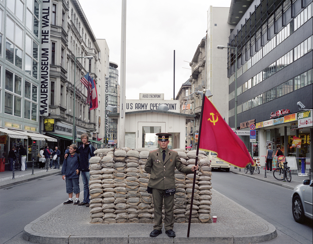 Checkpoint Charlie Pseudo Russian Soldier as a Tourists Attraction 2007