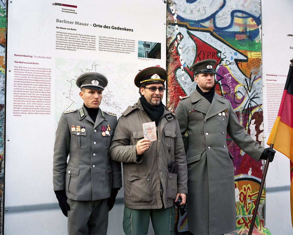 Tourist Posing With DDR Soldiers. Potsdamer Platz 2008