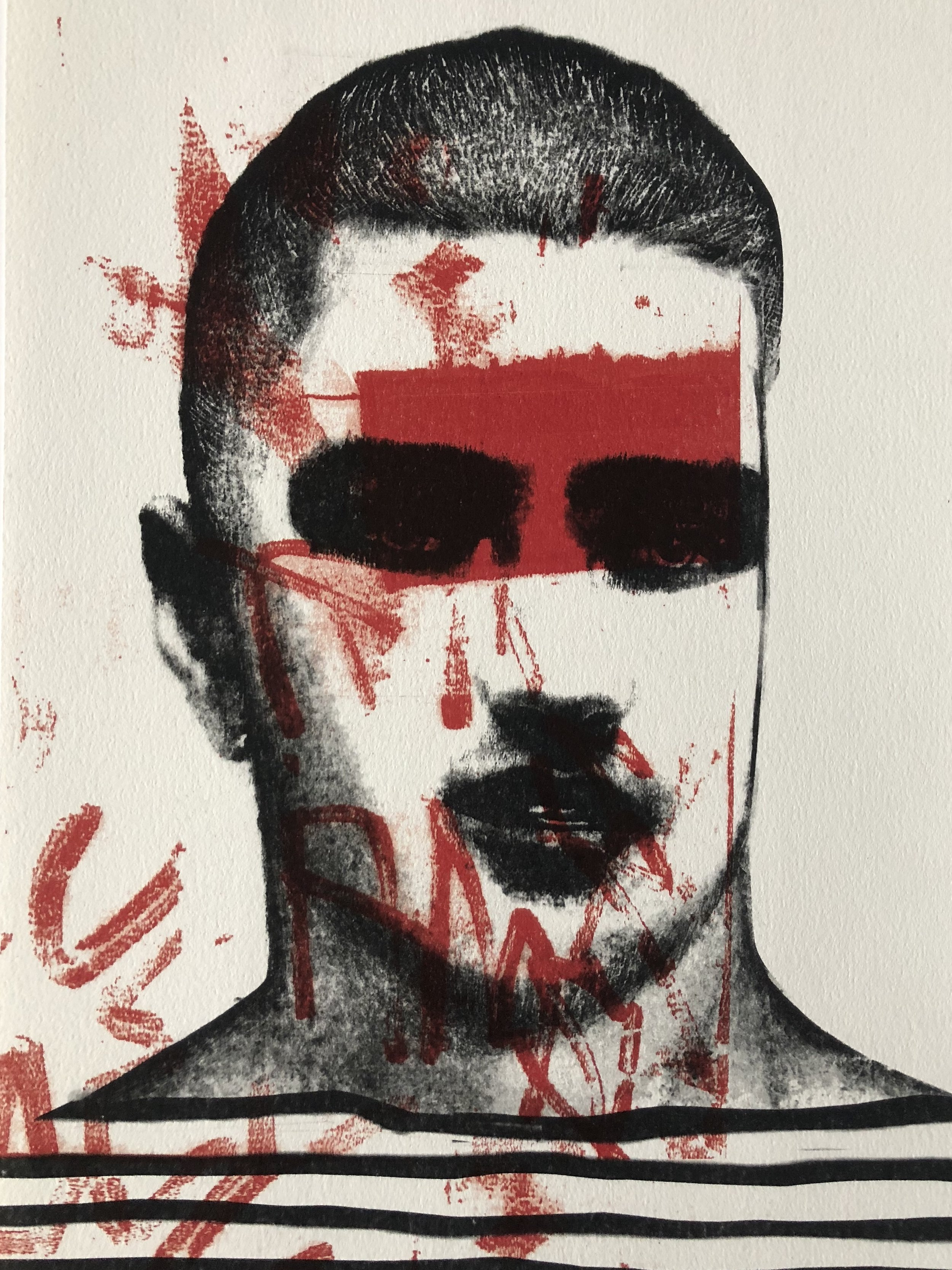 """Obscured Portrait I   Lithograph  9""""x12"""""""