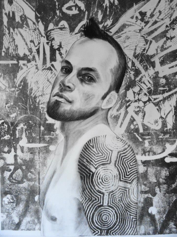 """Rob #1    Charcoal and lithography  11""""x14"""""""