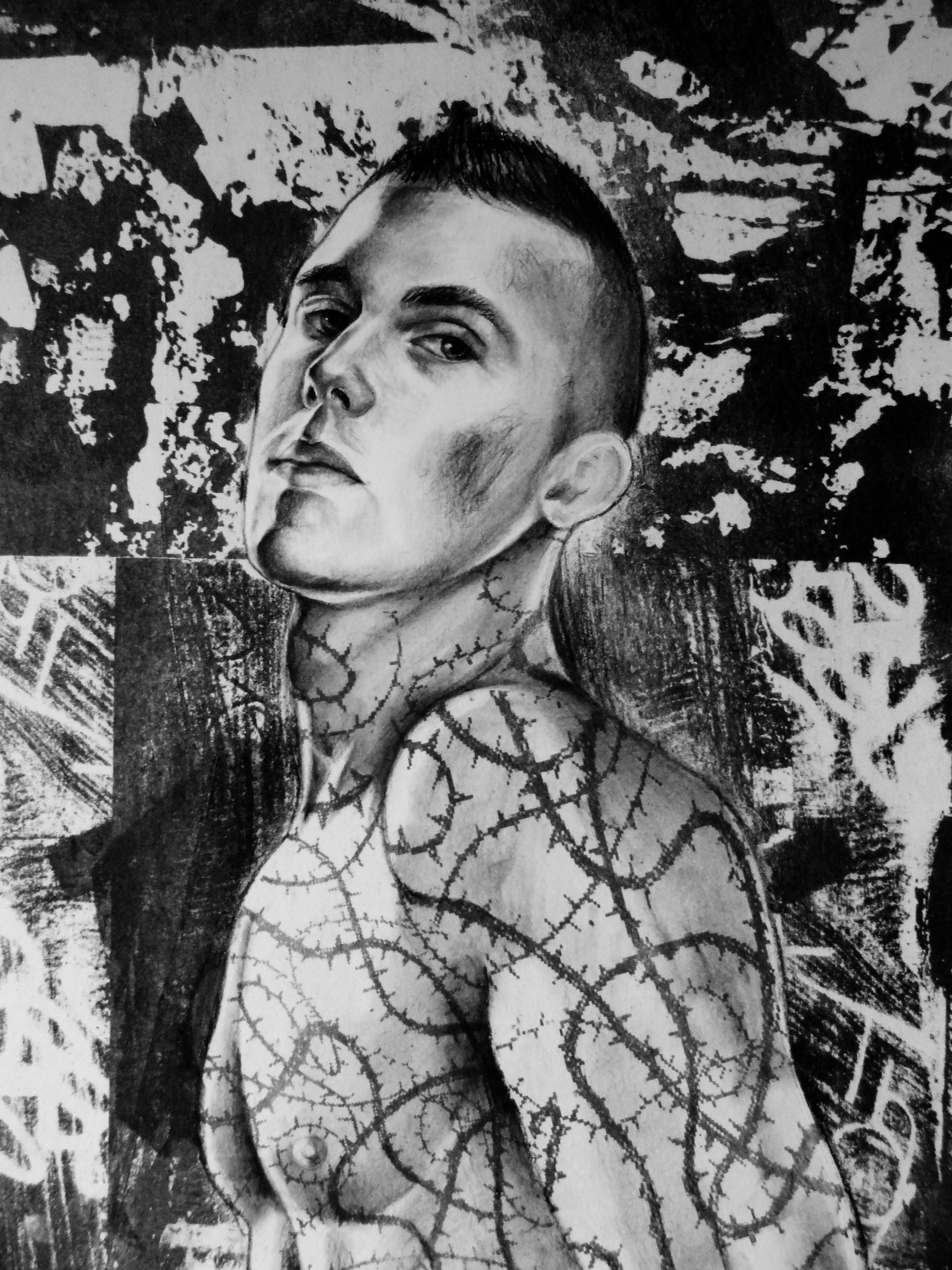 """Thorn Man #1    Charcoal and lithography  11""""x14"""""""