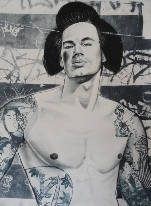"""Gaysha #1    Charcoal, colored pencil and lithography  15""""x20"""""""