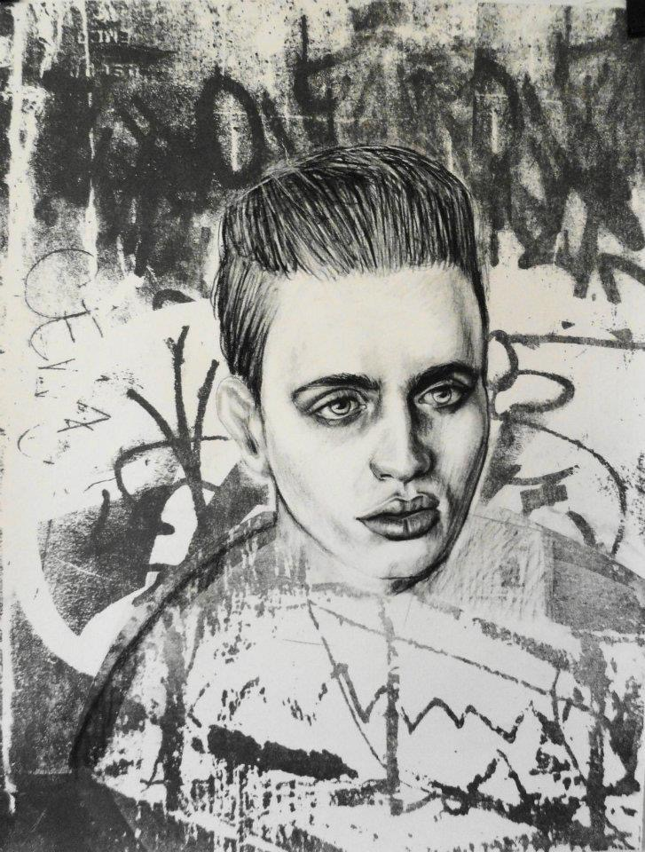 """Elijah    Charcoal and lithography  16""""x20"""""""
