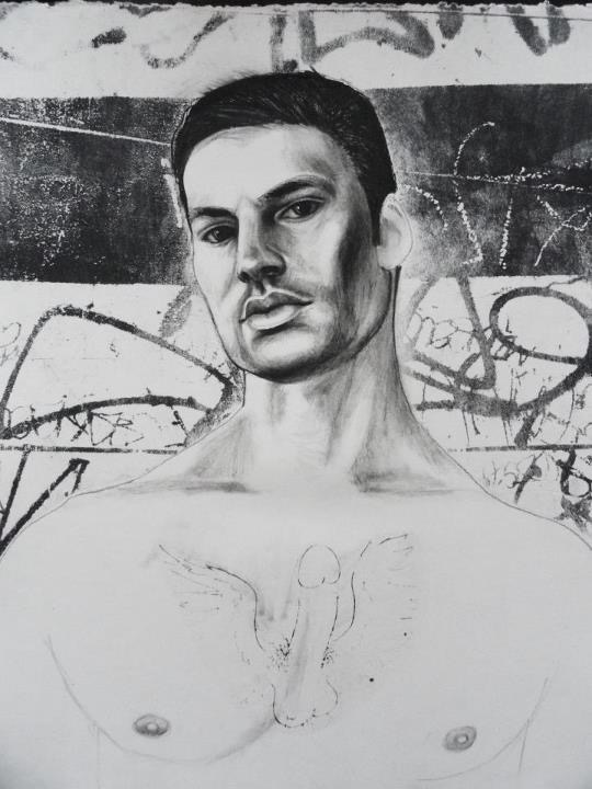 """Javier    Charcoal and lithography  16""""x20"""""""""""