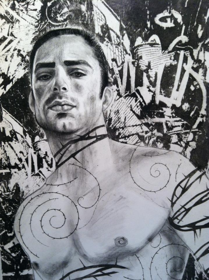 """Thorn Man #2    Charcoal and lithography  11""""x14""""   Sold"""