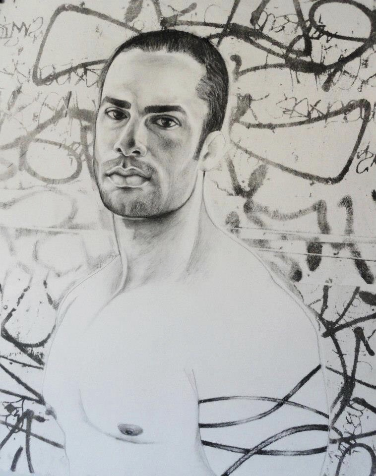 """Russ    Charcoal and lithography  16""""x20"""""""