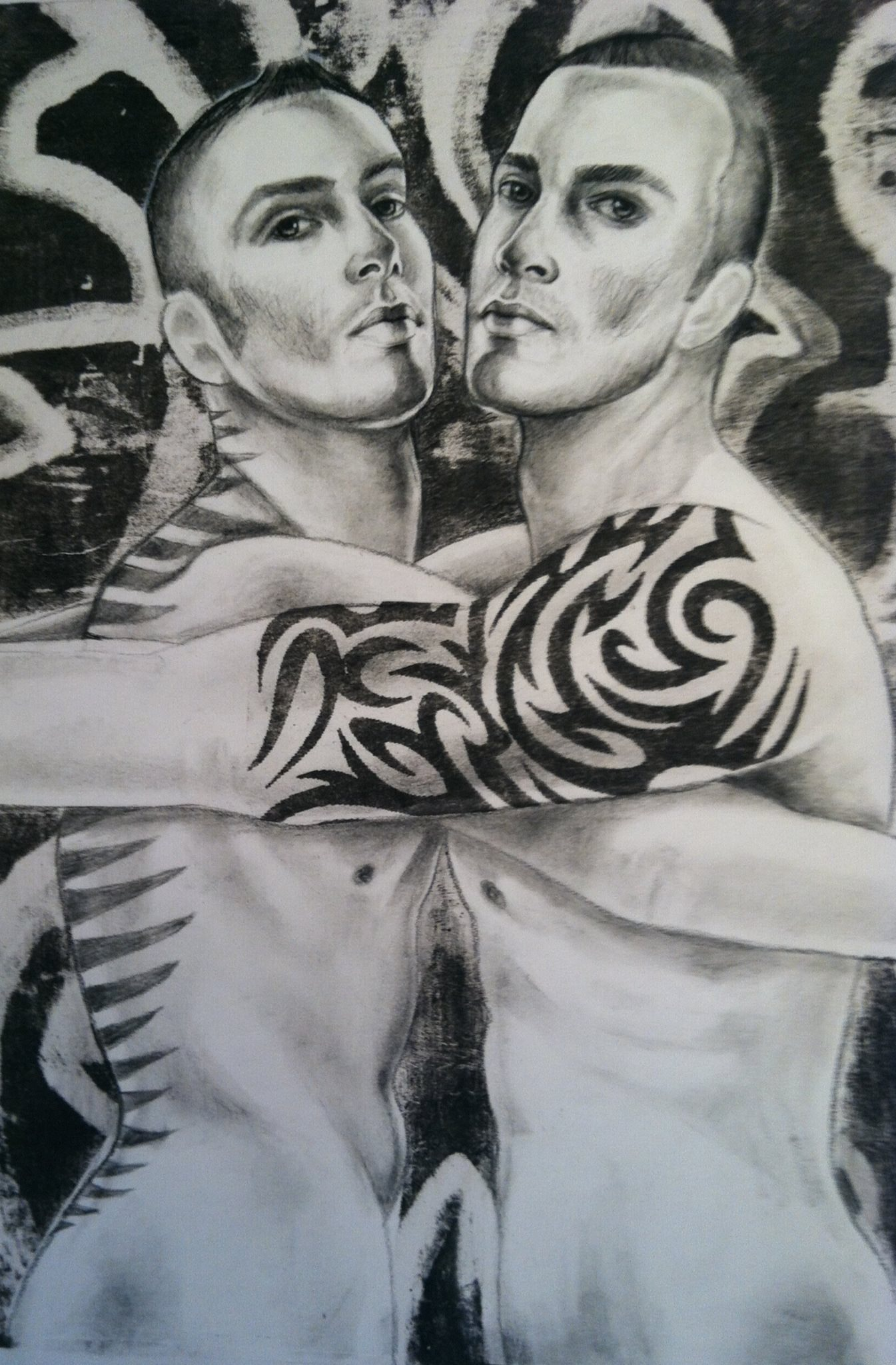 """Visual AIDS       Play Smart IV    16""""x24""""  Charcoal and lithography   Sold"""