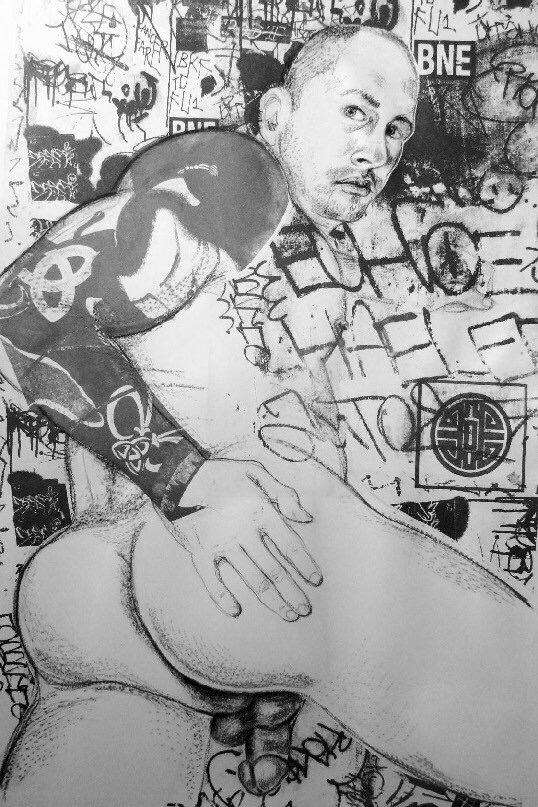 "Urban Graffiti NYC #I    Charcoal, and lithography  18""x26"""