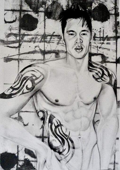 """Jin    Charcoal, and lithography  18""""x26"""""""
