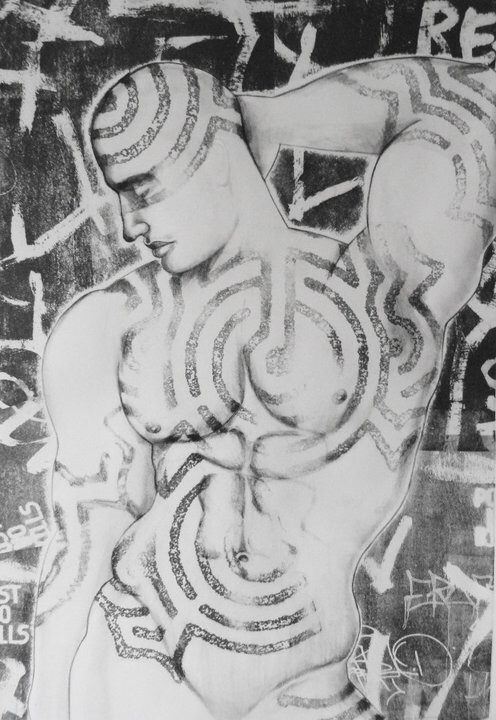 "Torso #1I    Charcoal, and lithography  18""x26"""