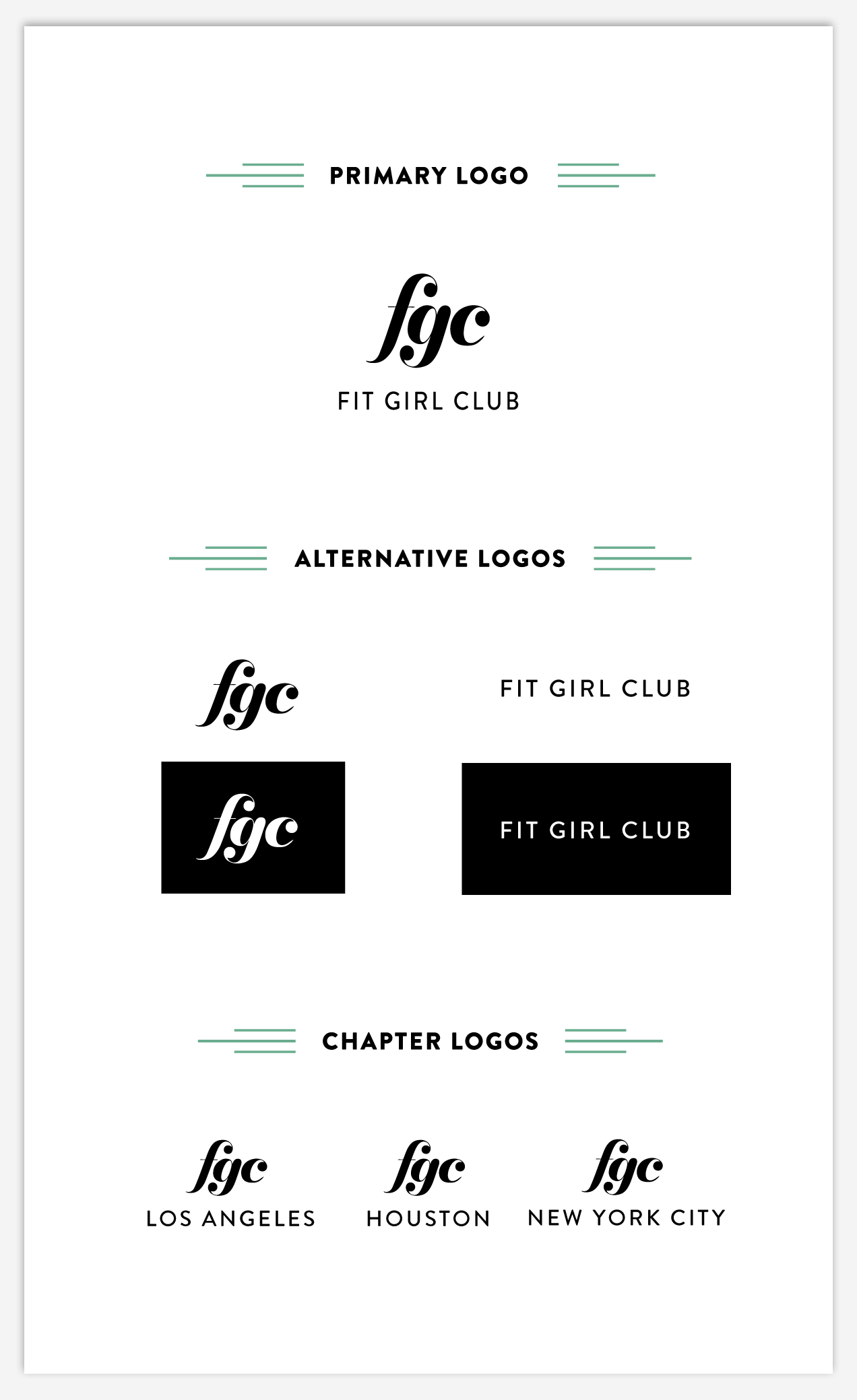 """I decided on this logo since it created a sense of a high-end, customized product with the modified serif- font for the """" fgc """" while still noting the playfulness and movement of the original logo by italicizing and making it lower case. The height differences in each of the letters resembles the different types of women and body shapes that are included in this club and allows for a sense of inclusivity as well. Both the letter logo and the spelled out logo can be used interchangeably depending on the layout of the design."""