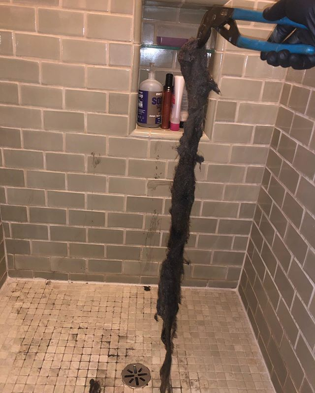 Last night.....the biggest hair stoppage from a shower EVER. Actually used a toilet auger to remove this beast!!! #thedrainwhisperer #844plumber #3rdgenerationplumber #losangelesplumber #pacificpalisadesplumbing