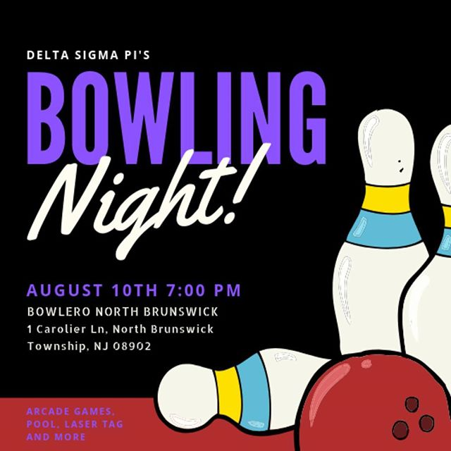 🚨 UPDATE ALERT 🚨 . . We continue to host bowling with the bros but on a new date! This Saturday at 7:00 you can meet up and bowl with Delta Sigma Pi Brothers. This event is open to the public and will be a blast! Hope to see you all there!! 💜💜#deltasig #deltasigmapi #rutgersnewark #bowling