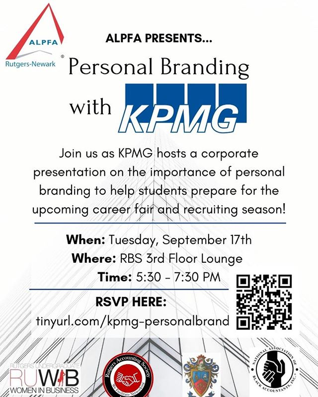 We have an amazing opportunity waiting for YOU! This Thursday Delta Sigma Pi Will be co-sponsoring a personal branding session featuring guest speakers from KPMG. We look forward to see you there! If you have any questions about the event please ask us! #deltasigmapi #deltasig #RBS #rutgersnewark #rutgers #brotherhood
