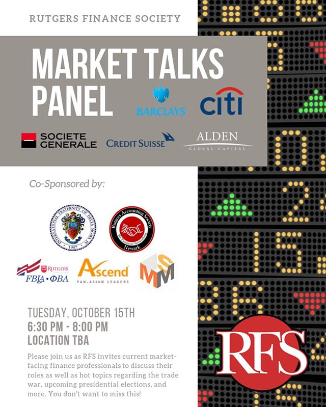 Please come join us October 15th! Delta Sigma Pi will be co-sponsoring a market talks panel presented by @rufinancesociety. This is event is a great way to network with professionals! Stay tuned for the location! #rutgersfinancesociety #deltasigmapi #dsp #networking #markets #finance