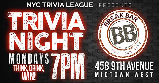 Monday night Trivia at 7pm!  Prizes include wrecking club packages, drinks, gift certificates and more!! #trivia #trivianyc #nycevents #pubquiz #mondaynighttrivia #trivianight #nyctrivialeauge #manhattantrivia #nyctrivia #bartrivianyc #nycbartrivia #wreckingclub #thebreakbar #smashstuffnyc #Uniquebarsnyc #nycbarscene #bestbarsnyc