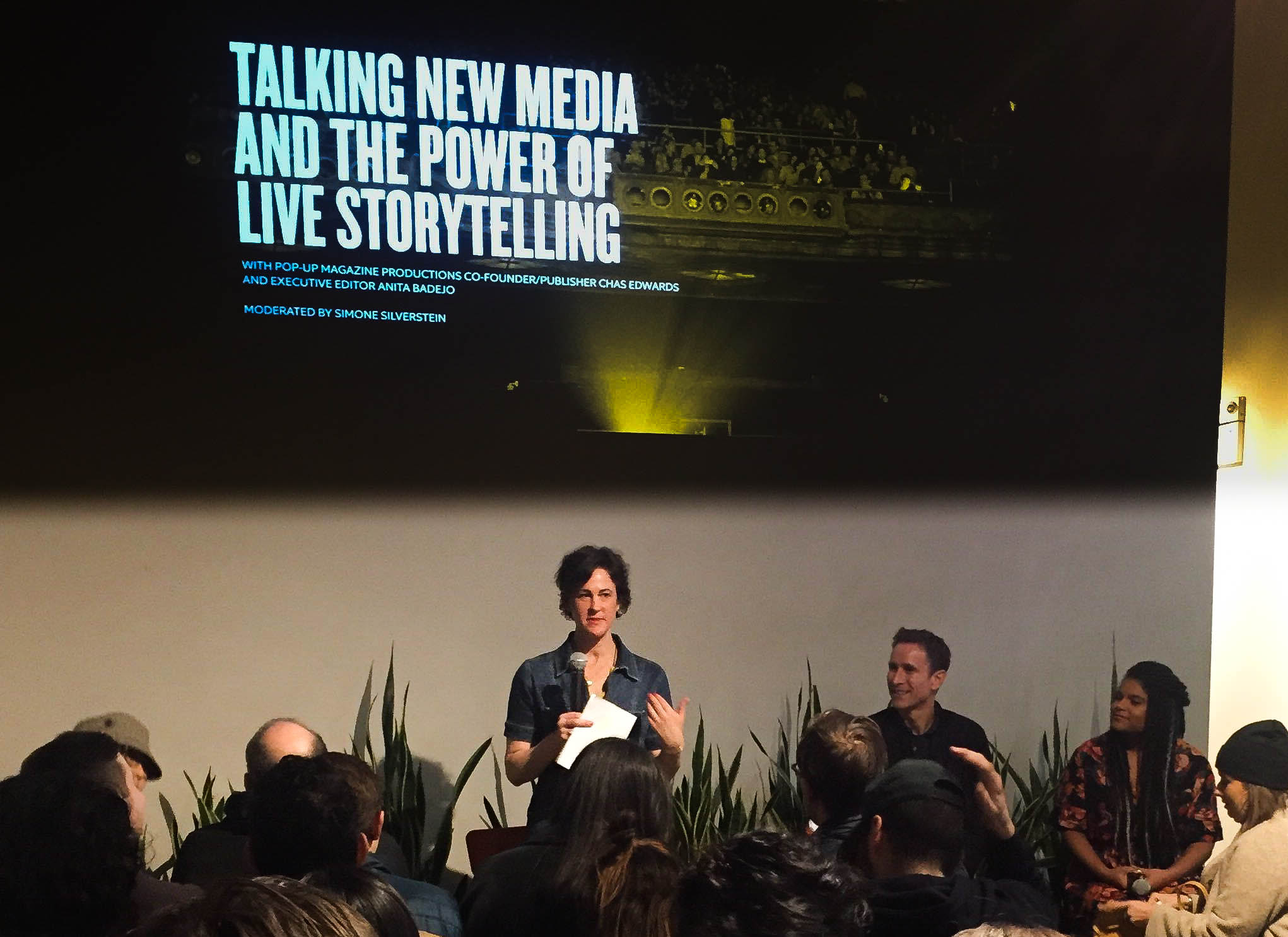 New Media & The Power of Live Storytelling  with    Pop-Up Magazine Productions    Co-Founder/Publisher Chas Edwards and Executive Editor Anita Badejo.