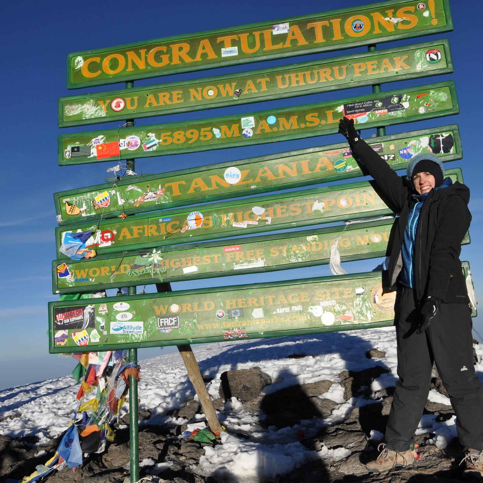 Summiting Kilimanjaro, 19,341 feet. January 2014.