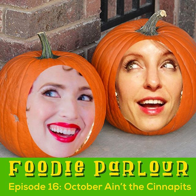 NEW EPISODE! (And I promise, we're taking some new pictures this weekend, so as to hopefully spare you the horror of Dana's photoshopping.) 🎃🎃🎃 We're all up into October (THE BEST MONTH) and chatting about food-themed Halloween costumes (real AND fictitious), unnecessary pumpkin-spice items (looking at you, pumpkin spice deodorant), and more in episode 16. Tap the link in our @foodieparlour bio and listen now! 🎙🗣