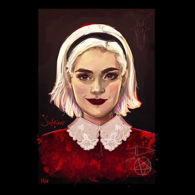 Paint study of Ms. Sabrina Spellman. I'm trying not to binge watch this season of #sabrinatheteenagewitch !! I'm taking my time and I'm enjoying every bit/episode. 🖤🕷🐾 #sabrinaspellman #paintstudy #digitalpainting