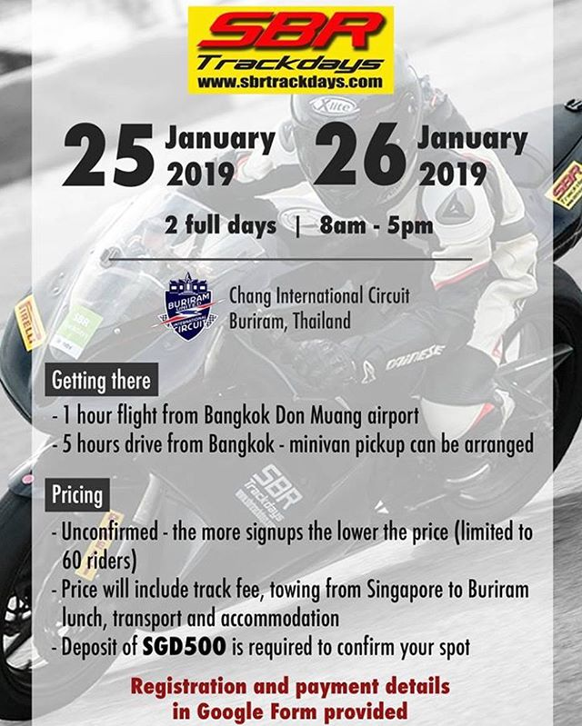 Anyone fancy having a crack at Buriram? Check out the details and let us know!! #buriram #thailand #livingthedream #someonesgottadoit #sbrtrackdays #youwontknowifyoudonttry #rideitlikeyoustoleit