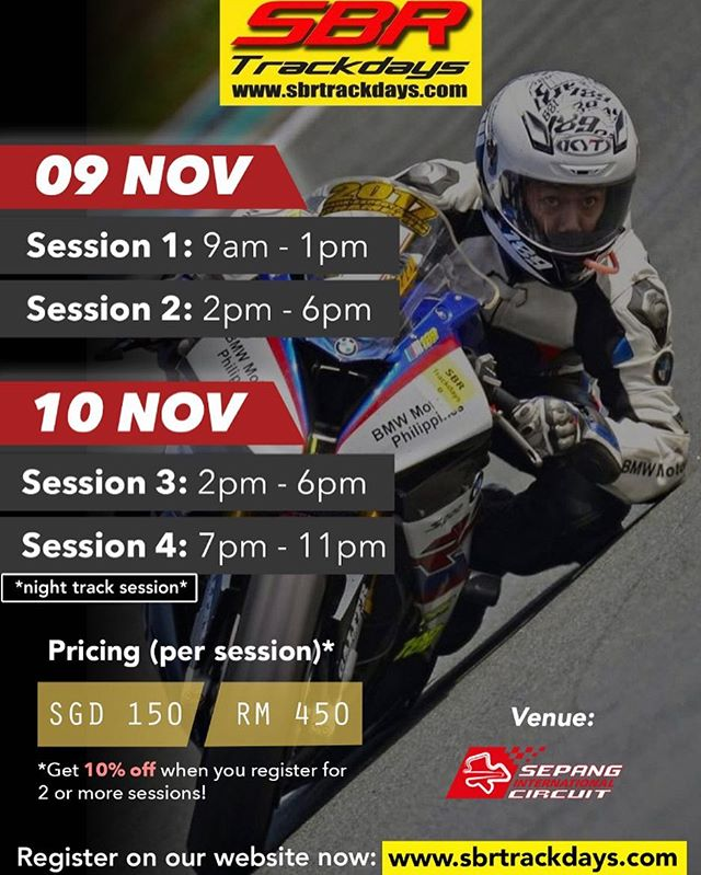 Registration is open NOW for our November session, including a night session on Saturday. Limited spaces so please book asap! #sbrtrackdays #sic #sepang #rideitlikeyoustoleit #nighttimefun #trackday #trackdays #bikelife #asiaspremiummotorcycletrackdays