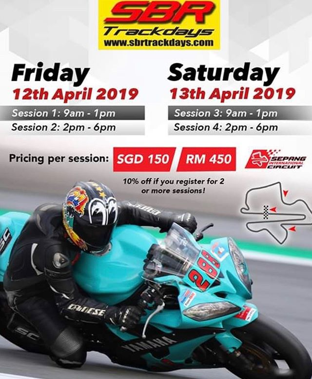 Registrations are now open for  April! Visit www.sbrtrackdays.com and book your slot asap! #sbr #sbrtrackdays #yesweareback #sic #sepang #rideitlikeyoustoleit #nighttimefun #trackday #trackdays #bikelife #asiaspremiummotorcycletrackdays