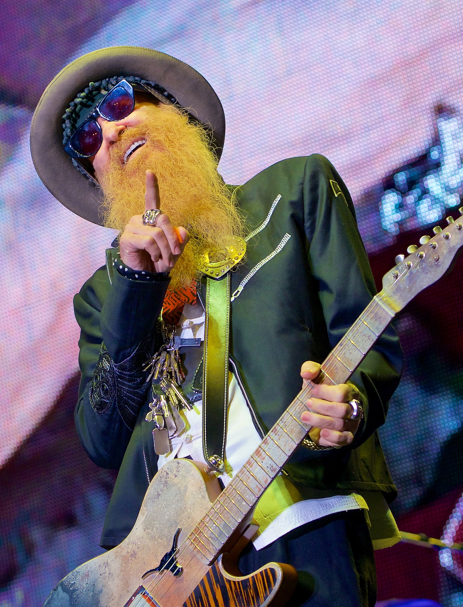Billy Gibbons performs with ZZ Top at Constellation Field, Sugar Land, TX. October 20, 2012