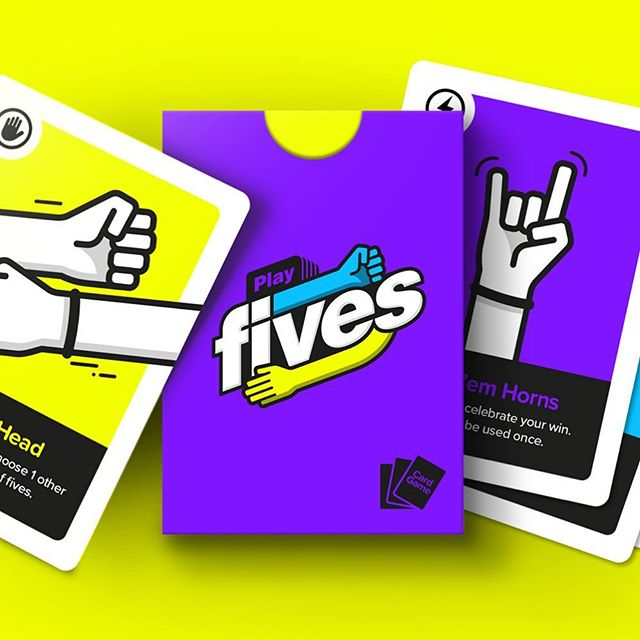 More posts about our new card game to come. But for now heres what our box looks like. ✌️ . . . .  #playfives #cardgame #cardgames #gamenight #coupleswhogame #tabletopgames #games #bgg #familygamenight #tabletopgaming #boardgamegeek #boardgameaddict  #familygames #strategygame #kickstarter #analoggames #cards #illustrator #illustration #graphicdesign #design #startup #playingcards #illustrationart #pokerface #fun #funny #peterborough #stoneworkspeterborough
