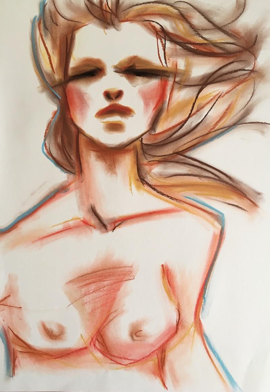 """*SOLD  """"Beachy vibes"""" Pastel on cardboard 42 x 60 cm // 160,- EUR // 1.200,- DKK"""