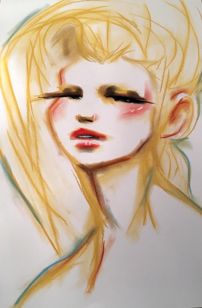 "*SOLD  // ""Softness"" Pastel on cardboard 42 x 60 cm // 160,- EUR // 1.200,- DKK"