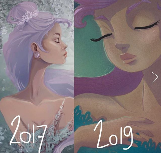 So I decided it was time to join the #redraw movement 😅🙌🏼 Which one do you prefer? 2017 or 2019?! I would love to know in the comments! . Swipe for full 2019 image ++ ⏩ . Also, have you folks ever done one of these? If so, how did it go? Personally I think it was a good little exercise😊