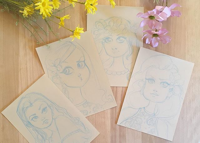 Im working on a couple of mini paintings for my next exhibition this coming Thursday. These are the initial sketches ✍🏼👀 . #childrensillustrations #fairytale #sketches #kidlit #childrensart #kidlitillustration #chapterbooks #middlegrade 💜