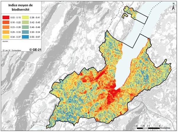 Figure 2 – Indice de biodiversité estimée pour chaque milieu de Genève (Guinaudeau, projet GE21, 2018)