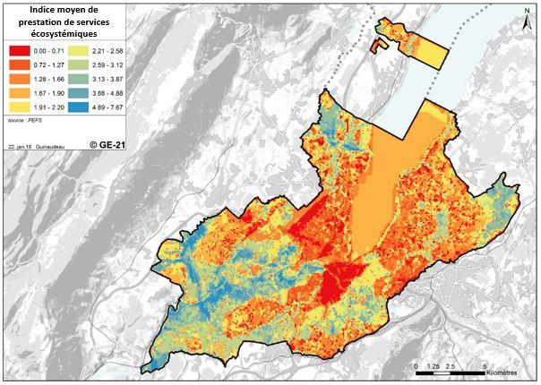 Figure 3 – Densité des principaux services écosystémiques cartographiés sur le canton de Genève (Guinaudeau, projet GE21, 2018)