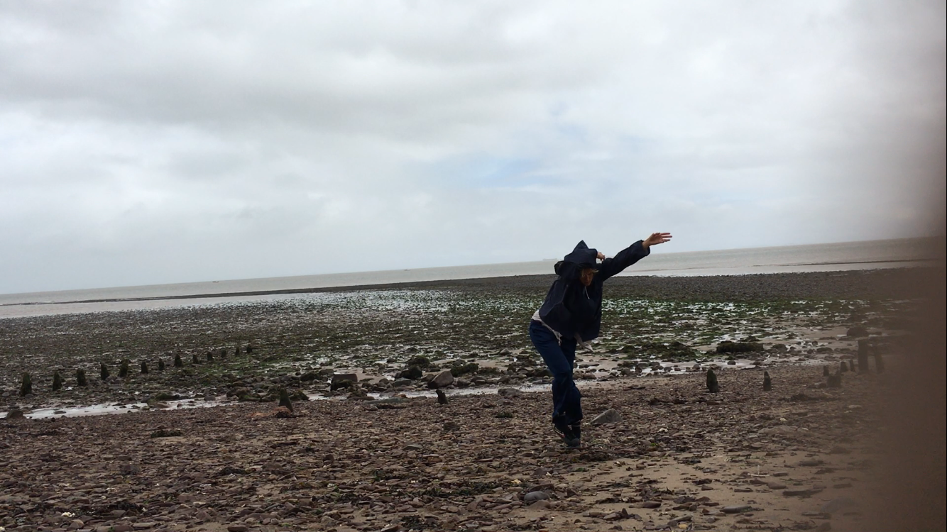 Solo work making on a beach in Somerset