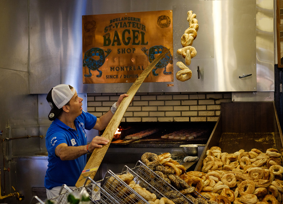 Lord of the rings – bagel-making at the flagship St-Viateur Boulangerie.