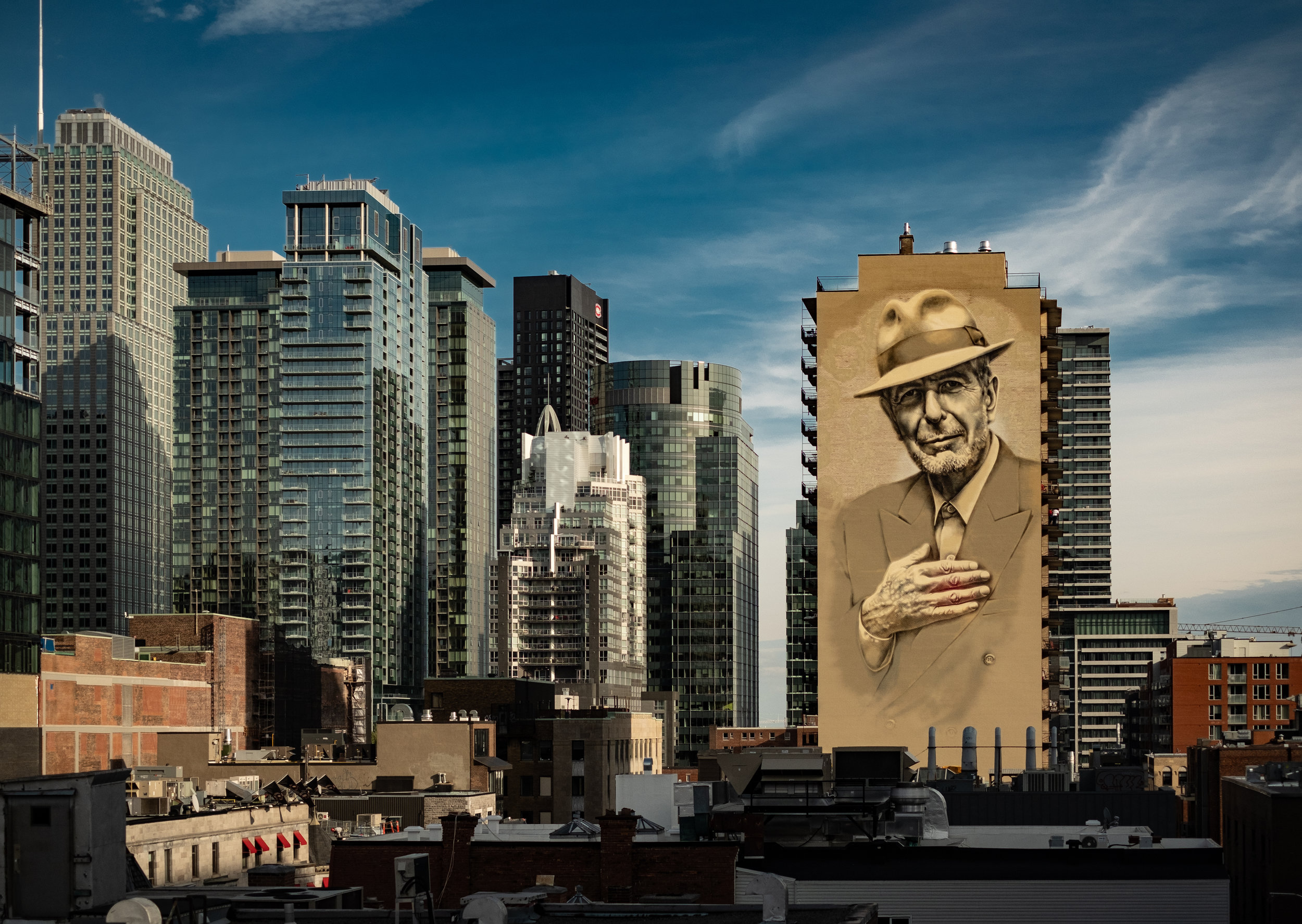 Leonard Cohen watches over Downtown.
